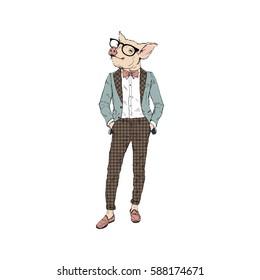hipster pig, furry art illustration, fashion animals
