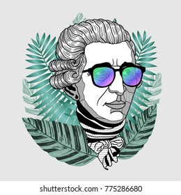 Hipster portrait of composer and musician. Franz Joseph Haydn with glasses. Summer style - palm leaf. T-Shirt Design & Printing, clothes, beachwear. Vector illustration hand drawn.