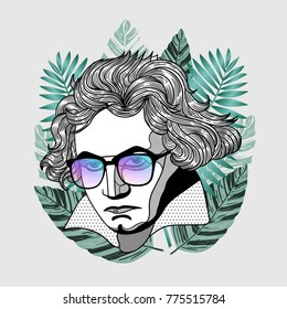 Hipster portrait of composer and musician. Ludwig van Beethoven with glasses. Summer style - palm leaf. T-Shirt Design & Printing, clothes, beachwear. Vector illustration hand drawn.