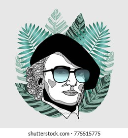 Hipster portrait of composer and musician. Wilhelm Richard Wagner with glasses. Summer style - palm leaf. T-Shirt Design & Printing, clothes, beachwear. Vector illustration hand drawn.