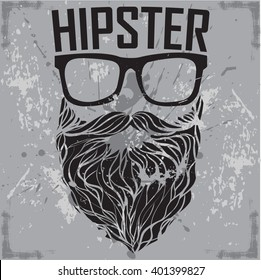 HIPSTER print for t-shirt. HIPSTER sunglasses beard modern street style attributes. Vector art.