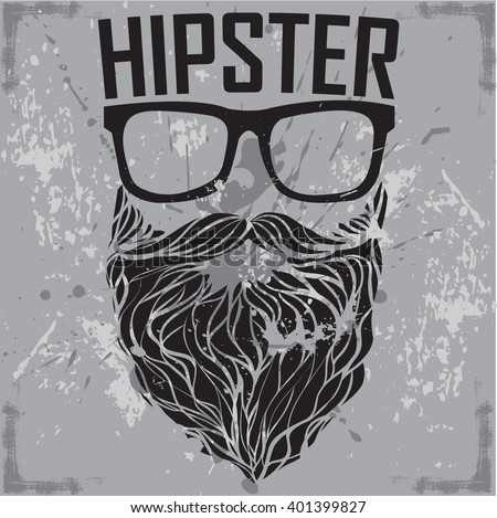 45cecd14 HIPSTER print for t-shirt. HIPSTER sunglasses beard modern street style  attributes. Vector
