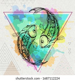 Hipster realistic koi fish illustration on artistic polygon watercolor background. Pisces zodiac sign