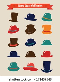 Hipster Retro Hats Vintage Icon Set, Illustration, Colorful
