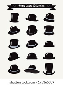 Hipster Retro Hats Vintage Icon Set, Illustration, Black
