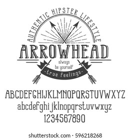 Hipster retro logo with crossed arrows and ribbon. And also the alphabet. Vector illustration.