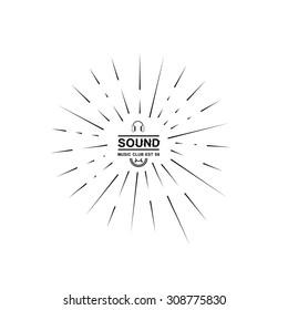 Hipster retro sound club headphones sunburst speaker logo design