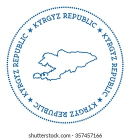 Hipster and retro style badge with Kyrgyzstan map. Minimalistic insignia with round dots border. Vector illustration
