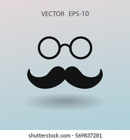 Hipster retro style mustache and eyeglasses ico
