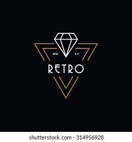 Hipster retro vintage diamond label, badge, crest