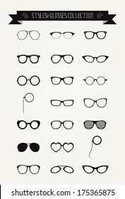 Hipster Retro Vintage Glasses Icon Set, Illustration, Black