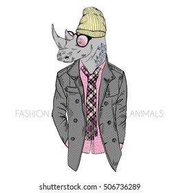 hipster rhino dressed up in coat, furry art illustration, fashion animals, hipster animals