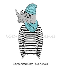 Hipster rhino dressed up in frock, knitted scarf and beanie hat. Furry art illustration. Fashion animals