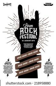 hipster rock festival poster with hand ribbon lightning starburst