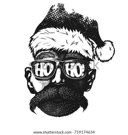 b3ec45a7d50f Royalty-free stock vector images ID  759174634. Hipster Santa Claus - Vector