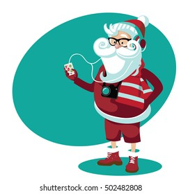 Hipster Santa Claus Cartoon. Illustration of Santa Claus wearing hipster outfit with eyeglasses, smartphone, noise canceling headphones and camera. EPS 10 vector.
