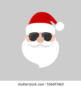 c200067f8a4 Hipster Santa Claus with cool beard and sunglasses. Merry Christmas card  design. Vector EPS
