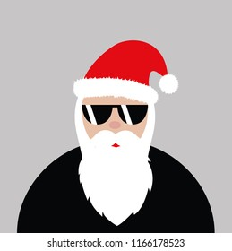 hipster Santa Claus with cool glasses rock vector illustartion EPS10