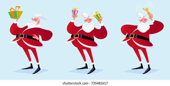 Hipster Santa Claus with gifts and bell. Vector cartoon illustration.