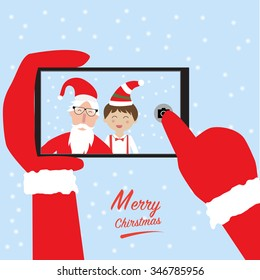 Hipster santa claus and little boy selfie with smartphone for merry christmas vector. illustration EPS10.