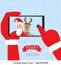 Hipster santa claus and reindeer selfie with smartphone for merry christmas vector. illustration EPS10.