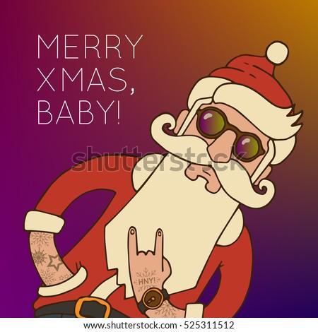 c931963e73b Hipster Santa Claus with Stylish beard and hip sunglasses. Cheeky Santa  Claus shows fashionable swag