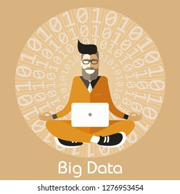 Hipster Scientist Analyst meditating in Sukhasana Easy Pose finds balance in the Big Data ocean