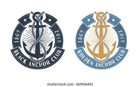 Hipster sea emblem with anchor, rope and  round ribbon with inscription. Monochrome and color options. Worn texture on a separate layer and can be disabled.
