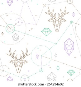 Hipster seamless pattern. Fashionable geometric ornament with deer.