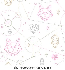 Hipster seamless pattern. Fashionable geometric ornament with cat's head