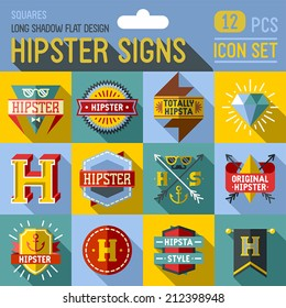 Hipster signs flat long shadow design square icon set. 12 pcs. Trendy illustrations.