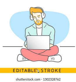 Hipster sit on floor with laptop and headphones. Hand drawn style vector doodle design illustrations. Easy changing vector with editable strokes.