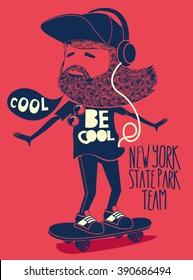 hipster, skater vector design