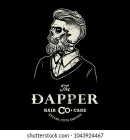 Hipster skull barber shop logo in black and white