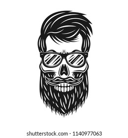 Hipster skull with beard and sunglasses vector monochrome illustration isolated on white background
