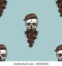 Hipster skull with brawn hair and bread.Seamless pattern background. Blue.