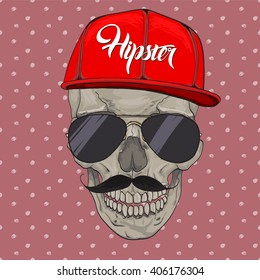 Hipster skull cap. Hipster skull in beanie hat and glasses, t-shirt design print