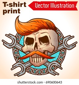 Hipster skull. Car workshop logo, moto workshop logo. Cool Dead skull mechanic on metal chains with spanners. Retro skull with mustache and proprietary biker hairdo.Vector tattoo on white background