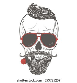 c6ec41b08654 Hipster skull in glasses with mustache