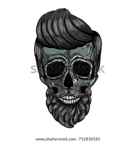 Hipster Skull With Hair And Beard Vector