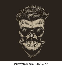 ec95c6f42e84 Hipster skull with hairstyle.Isolated on black background.Fashion  style.Hand drawn work