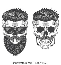 Hipster skull monochrome isolated on white graphic vector illustration