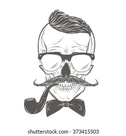 Hipster skull with mustache, bow tie and smoking pipe. Skull print, skull illustration  isolated on white background. Vector mode