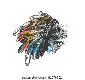 Hipster skull silhouette Skull indian chief in hand drawing.