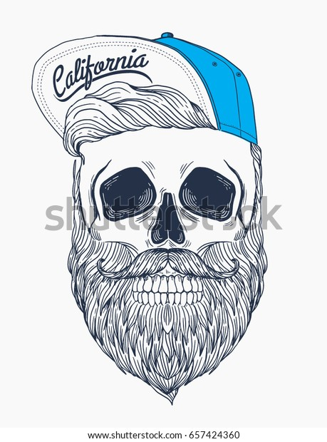 9a8698e15 Hipster Skull Snapback Hat Hipster Hair Stock Vector (Royalty Free ...