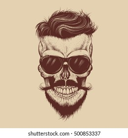 Hipster skull with sunglasses, mustache and beard.Fashion style.Hand drawn work.Vector illustration