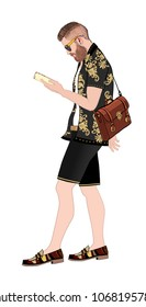 Hipster with smartphone and bag walking - vector illustration