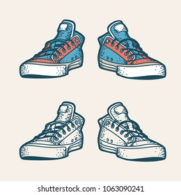 Hipster sneakers in retro style. Color and monochrome versions.