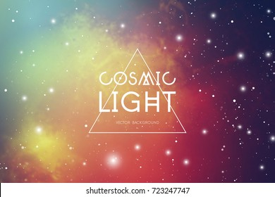 Hipster space background with colorful cosmic light, stars and text placeholder.