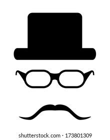 Hipster style accessories vector design. Isolated easy to edit hipster set with glasses, hat and mustache.